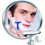 rotating fogless shower mirror for shaving